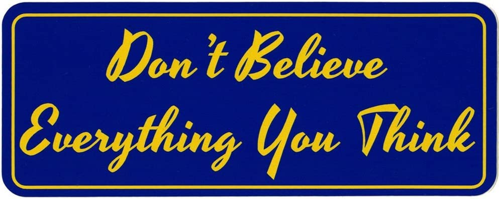 """Don't Believe Everything You Think - Small Bumper Sticker or Laptop Decal (5"""" X 2"""")"""