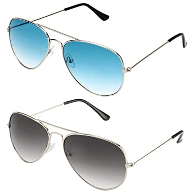 9b902b92833 SHEOMY SUNGLASSES COMBO - SILVER BLUE AVIATOR SUNGLASSES AND AVIATOR SILVER  GREY SUNGLASSES WITH 2 BOXES Best Online Gifts  Amazon.in  Clothing   ...