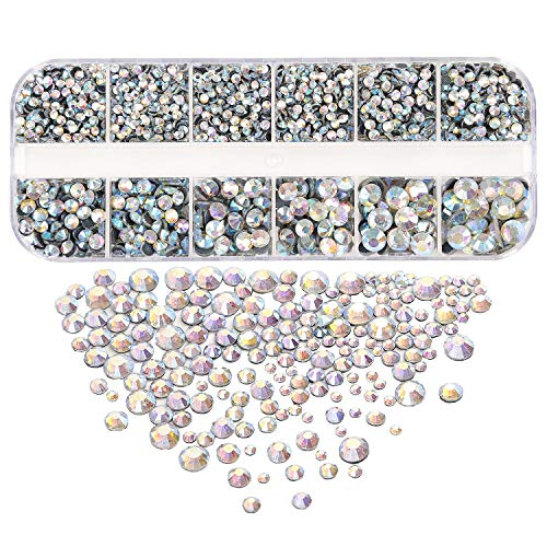 - 3400 Pieces AB Clear Hotfix Flatback Rhinestones, 6 Size Hotfix Crystals Rhinestones for Clothes Shoes Crafts Hot Fix Round Glass Gems Stones Flat Back Iron on Rhinestones for Clothing 2MM-6.5MM