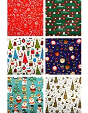 6 Pack Christmas Reversible Wrapping Paper 10m x 70cm 6 Assorted Designs Christmas Elements Single-Sided Gift Box Wrapping Paper