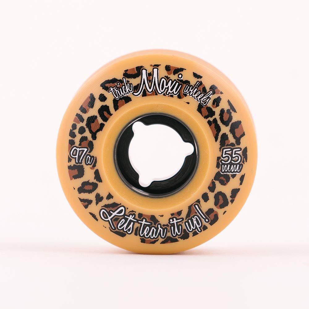 Roller Skate Wheels 4 Pack of 55mm 97A Wheels Trick Wheels Leopard Moxi Skates