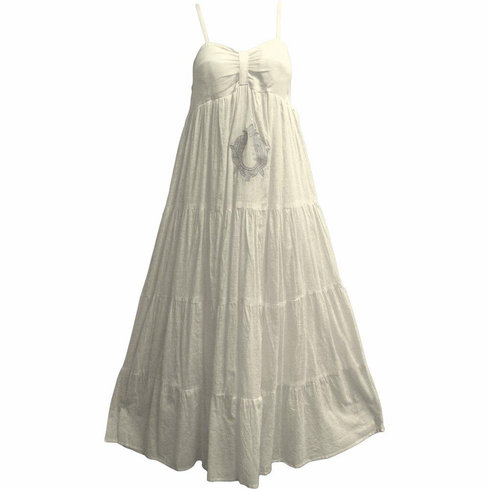 Yoga Trendz Women's Indian Cotton Spaghetti Strap Summer Beach Long Tiered Maxi Dress MINAXI (Large, White)