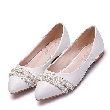 MSFS Zapatos De Mujeres Mocasines Planos Boda Bailarina Perla Diamante De Imitación Novia Fiesta Tamaño 35 A 42,EU35: Amazon.es: Deportes y aire libre