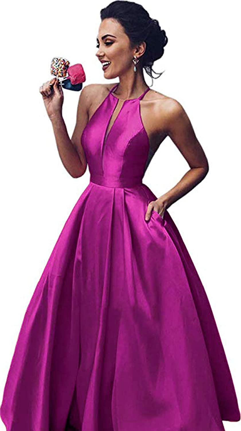 Fuchsia Rmaytiked Women's Halter Prom Dresses Long 2019 Satin A Line Formal Evening Ball Gowns with Pockets