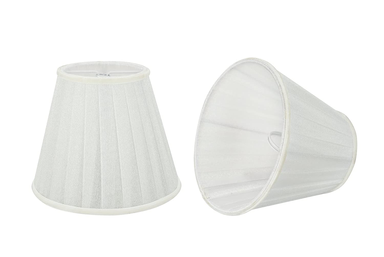 5 Bottom Width Aspen Creative 33112-5 Small Pleated Empire Shape Chandelier Clip-On Lamp Shade Set , Transitional Design in White 5 Pack 3 x 5 x 4 1//4