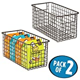 mDesign Household Metal Wire Storage Organizer Bins Basket with Handles for Kitchen Cabinets, Pantry, Bathroom, Landry Room, Closets, Garage - 2 Pack, 12'' x 6'' x 6'', Bronze