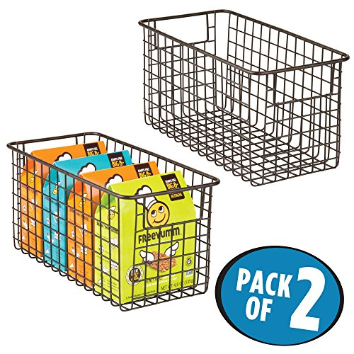 Metal Wire Art (mDesign Household Metal Wire Storage Organizer Bins Basket with Handles for Kitchen Cabinets, Pantry, Bathroom, Landry Room, Closets, Garage - 2 Pack, 12