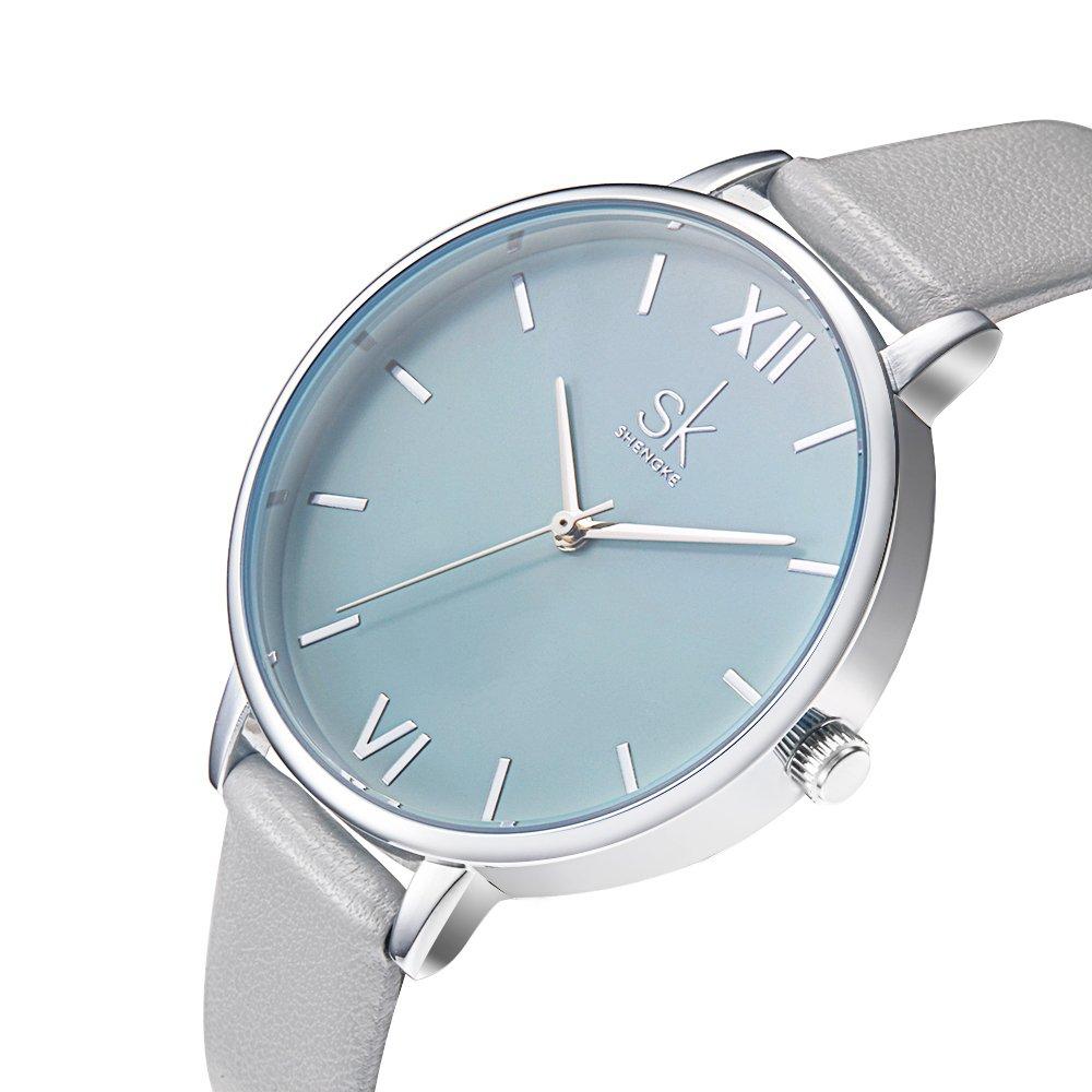 SK Women Watches Leather Band Luxury Quartz Watches Girls Ladies Wristwatch (0056 Grey)