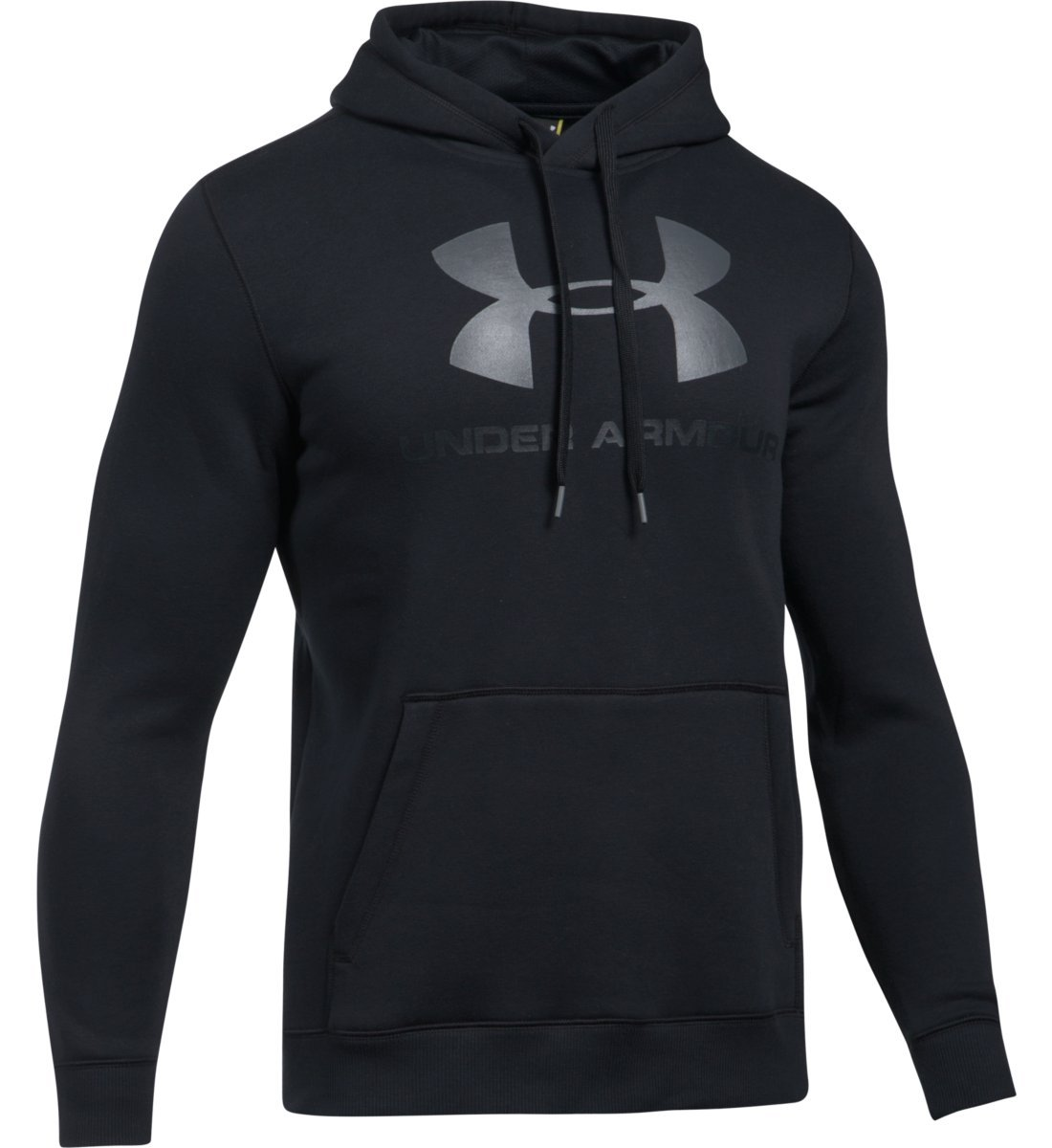 Under Armour Men's UA Rival Fitted Graphic Hoodie, Black/Stealth GrayGraphite, XLarge