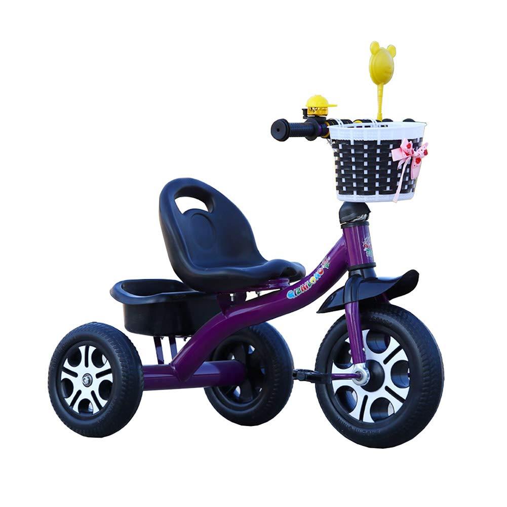 Kinder Dreirad Baby Fahrrad Spielzeugauto, Luftreifen 2-6 Jahre altes Fahrrad für Jungen Mädchen (Farbe   Schwarz lila