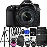Canon EOS 80D DSLR Camera with EF-S 18-135mm f/3.5-5.6 IS USM Lens & EF 75-300mm f/4-5.6 III Lens 64GB Bundle 33PC Accessory Kit. Includes 64GB Memory Card + 3PC Filter Kit (UV-CPL-FLD) + 4PC Macro Filter Set (+1,+2,+4,+10) + MORE - International Version (No Warranty)