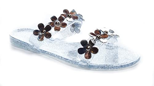 b3cee2061 BAMBOO Women s Jelly Flat Slide Sandal with Flowers Emblems in Silver Size   7