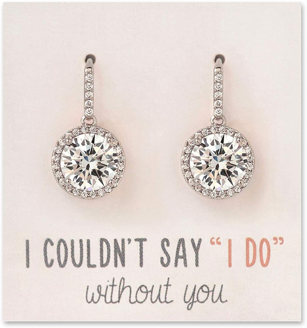 A+O Wedding Bridesmaid Earrings Gift, Cubic Zirconia Drop Dangle Earrings in Silver, Gold, Rose Gold