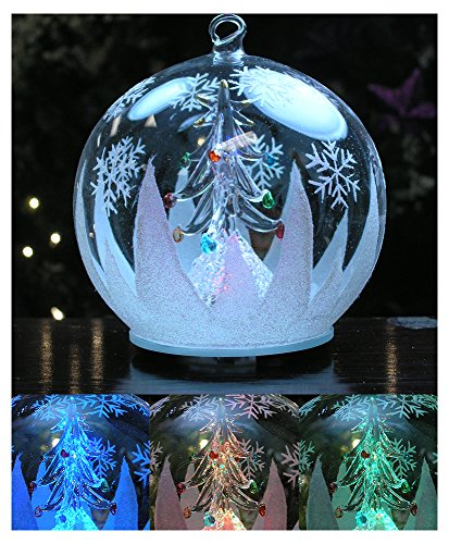 LED Window Globe Christmas Tree Ornament with Tree Inside - Color Changing Lights - Clear Glass with Hand Painted Glitter Snowflakes 5 Inch Diameter