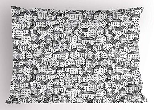 K0k2t0 City Pillow Sham, Sketch Style Doodle Drawing Urban Area Hand Drawn Abstract Town Pattern Ornamental, Decorative Standard Queen Size Printed Pillowcase, 30 X 20 inches, Black -
