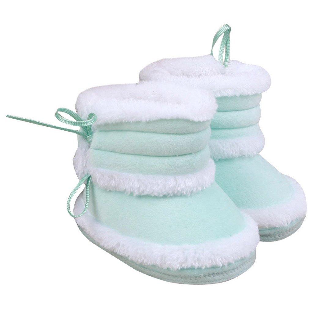 Happy Cherry – Chaussures de neige/Bottes hiver fourrées/Chaussures souple chaussures chaude en hiver Chaussons velours corail mixte enfant bébé 3-6 mois – Vert Smarstar