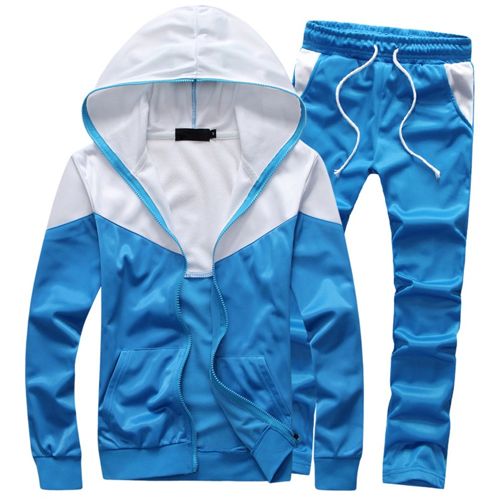 MACHLAB Men's Tracksuit 2 Piece Jacket & Pants Warm Jogging Athletic Suit Casual Full Zip Sweatsuit Gym Activewear Light Blue M by MACHLAB