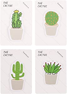 GTHER Cactus Notepad, Cactus Sticky Note Self Stick Self-Adhesive Cute Notes Notepads Posted Writing Pads Stickers Paper (4 Pads, Cactus)