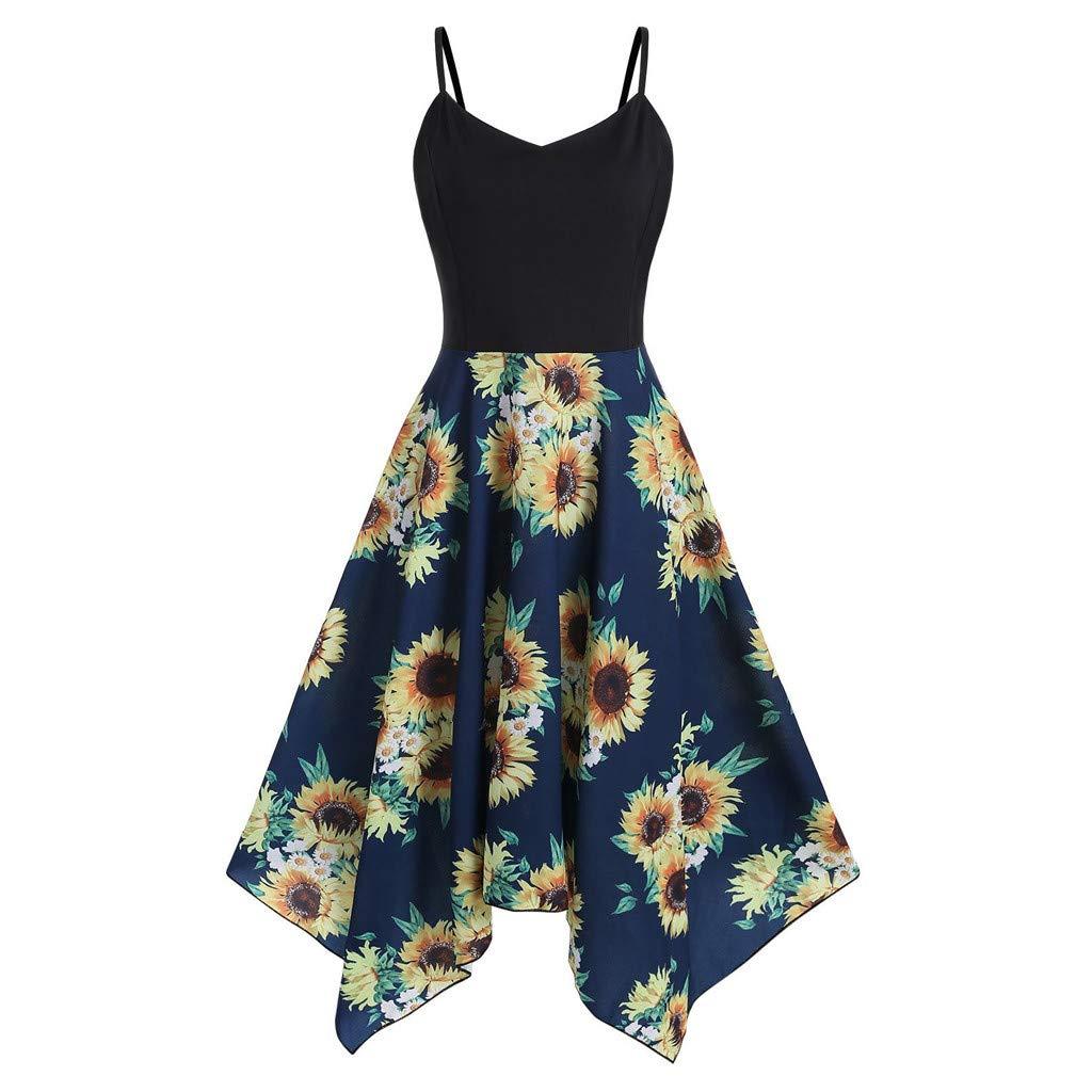 FarJing Womens Plus Size Fashion Sunflower Print Asymmetric Camis Handkerchief Dress(4XL,Navy