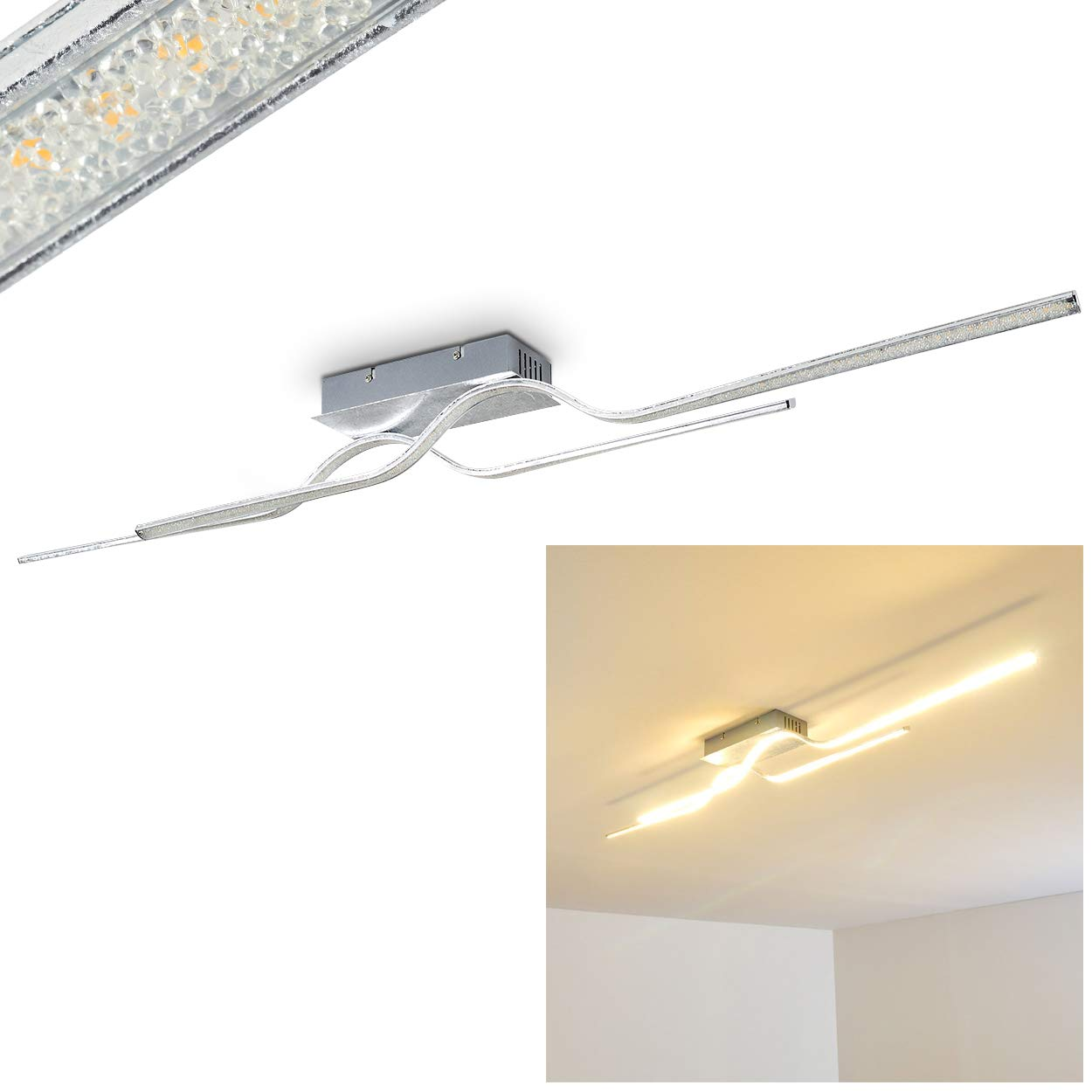 LED Deckenleuchte Jamjo, Lampe mit zwei länglichen Lichtleisten und Kunststoffkristallen, Deckenstrahler in Silberfarben, Zimmerlampe für Flur, Schlafzimmer, Wohnzimmer - 3000 Kelvin, 2100 Lumen