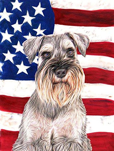 Schnauzer Garden Flag - Caroline's Treasures KJ1158GF USA American Flag with Schnauzer Flag, Small, Multicolor
