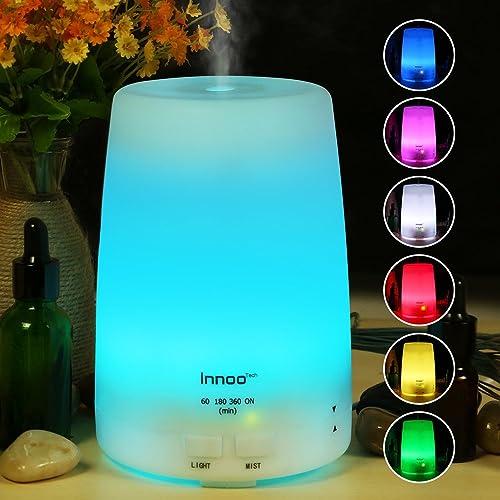 Innoo Tech Humidificador 300ml Difusor de Aceites Esenciales Difusor de Aroma 7 Colores LED 4 Modos de Temporizador Vapor Frío