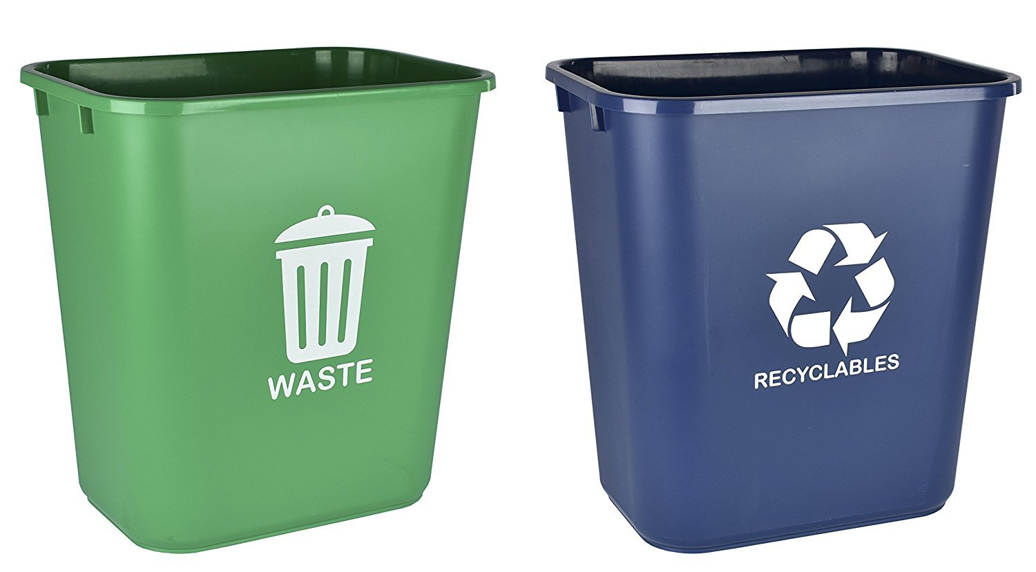 Acrimet Wastebasket for Recycling and Waste 27QT (2 Units) (Green and Blue) by Acrimet