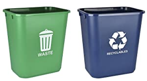 Acrimet Wastebasket for Recycling and Waste 27QT (2 Units) (Green and Blue)