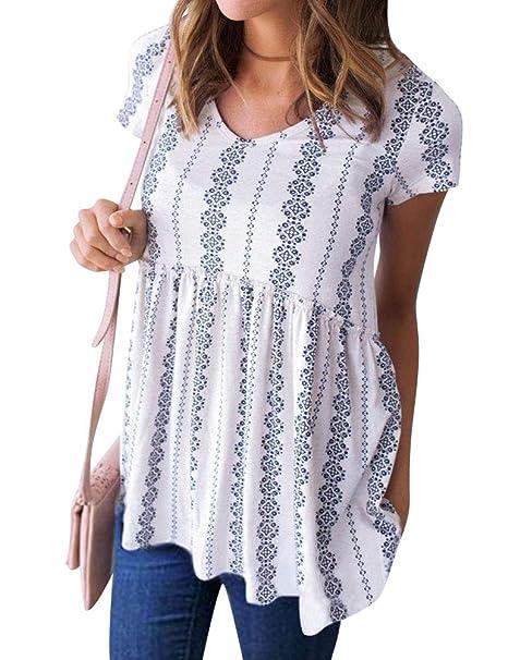839f7fad39e Amazon.com  Nlife Women s Summer Floral Print Top V Neck Blouse Short  Sleeve Tops Peplum Blouse Shirt  Clothing