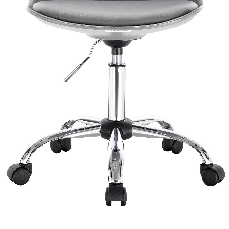 WOLTU BS39sz Tabouret /à roulettes Chaise de Bureau Ronde en Similicuir Tabouret de Travail pivotant 360/° r/églable en Hauteur Noir