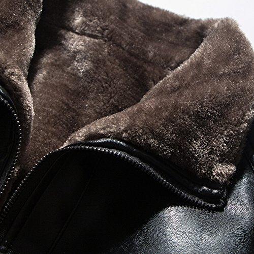 Nero Pelle Cappotti Sintetica Capispalla Giacca Spesso Antivento Di Cappotto Uomo q6B6Fwa