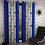 Panipat Textile Curtain Fancy Eyelet Single 1 Piece Blue Polyester Curtain,Window 5 Feet