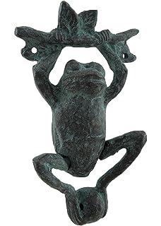 Daring Dangling Frog Verdigris Finish Cast Iron Door Knocker
