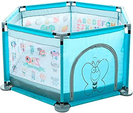 Portable Indoor Outdoor Baby Playpen Toddlers Children Safety Ball Pit Fun Activities Popular Toys Large Space Baby Play Yard Not Includes Balls Blue