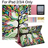 iPad Case, iPad 2/3/4 Case, Dteck(TM) PU Leather Folio Flip Stand Case with Card Slots/Cash Pocket Wallet Design Protective Shell Cases Portable Covers for Apple iPad 4,iPad 3 & iPad 2,Life Tree