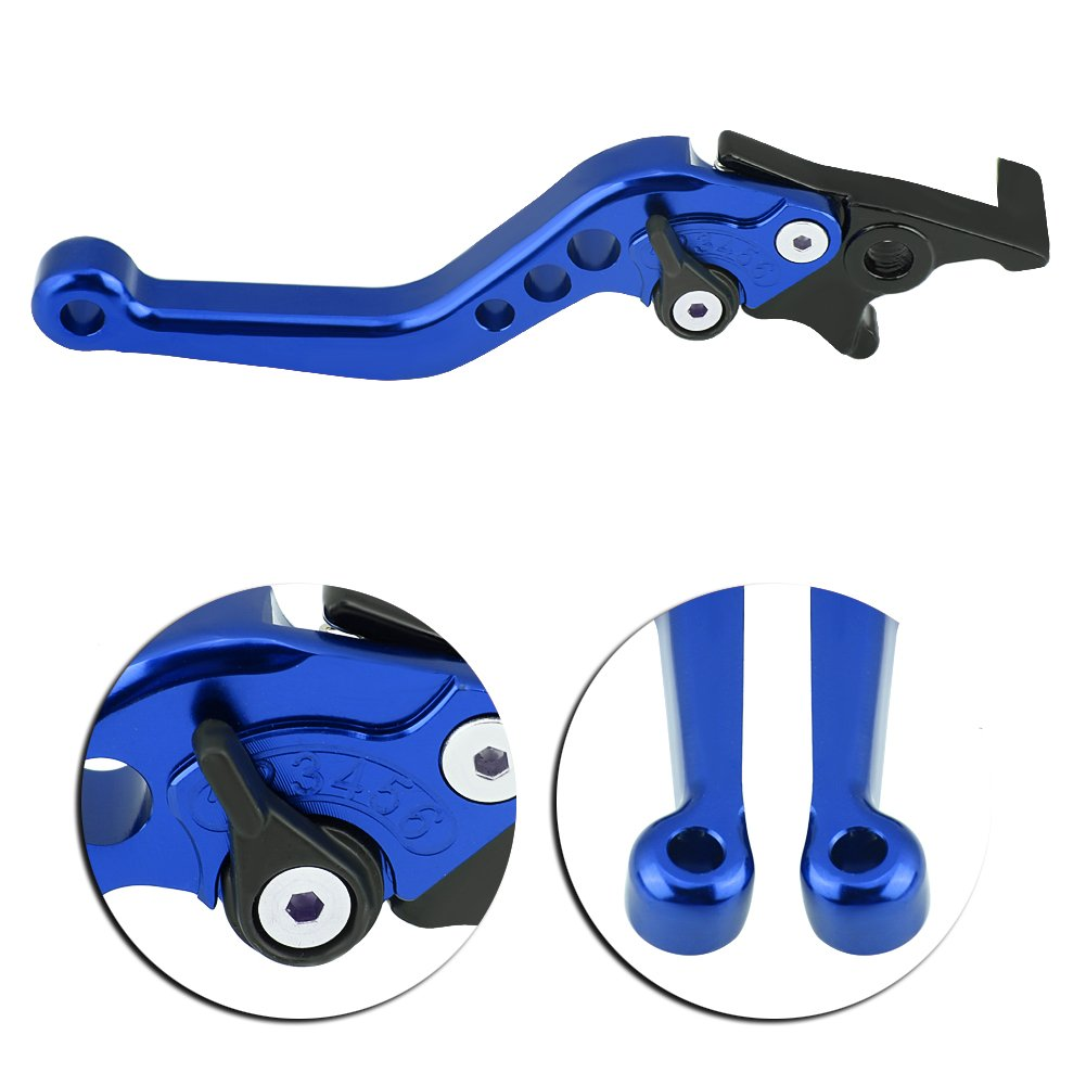 Motorcycle Double Disc Brake Handle,Universal Motorcycle Scooter Modified CNC Aluminum Alloy Double Disc Brake Lever Horn Adjustable 1 pair Azul