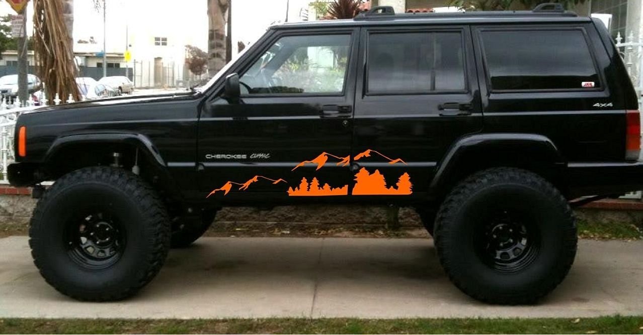 2pc Mountain Jk Decal Orange Sticker Compatible With 1950s Jeep Wagoneer Cherokee And Similar Automotive