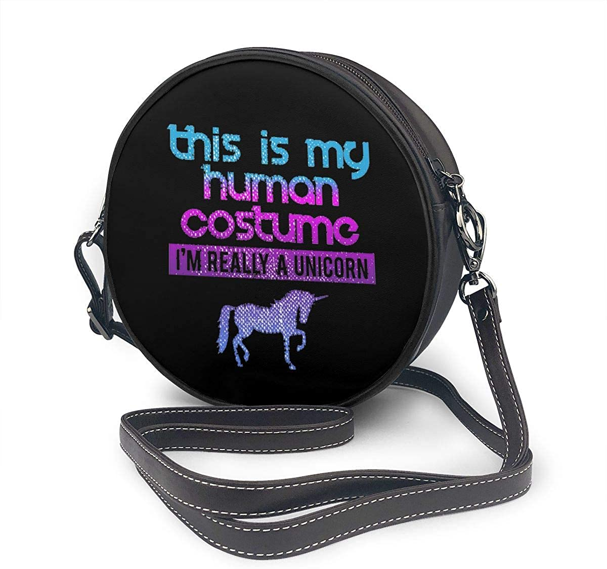 This Is My Human Costume Im Really A Unicorn Halloween Classic Round Shoulder Bag Crossbody Leather Handbag