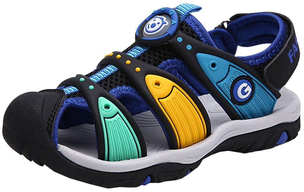 VECJUNIA Boy's Outdoor Sandals Closed Toe Non-Slip Adjustable Athletic Sandals Water Beach Shoes (Black, 8 M US Toddler)