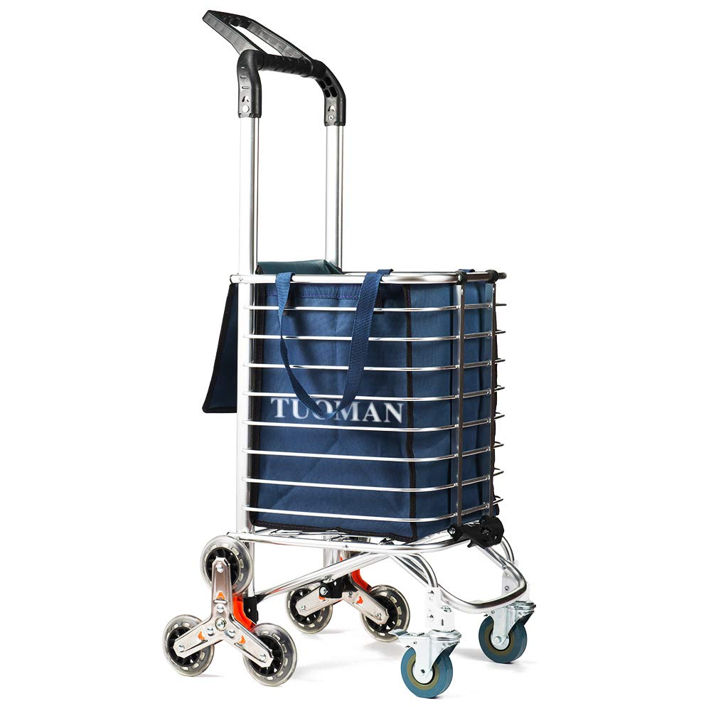TUOMAN Shopping Cart Portable Utility Carts Folding Trolley Light Weight Stair Climbing Cart with Triangle Crystal Wheel - 177 Pounds Capacity - Blue by TUOMAN