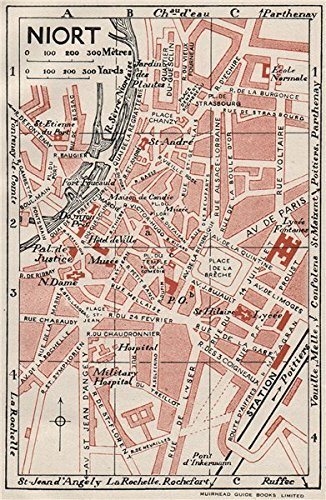 Amazoncom NIORT Vintage town city map plan DeuxSvres 1926