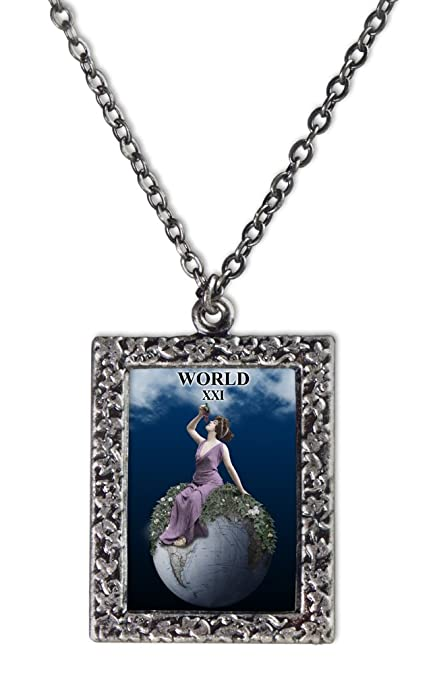 The World Tarot Card Necklace
