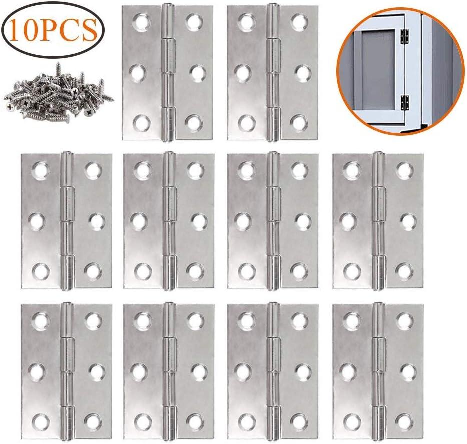 LATERN 10 piezas de bisagras de acero inoxidable Conectores de bisagras de tope plegables 3 pulgadas para el mueble de para el hogar Gabinete la puerta del armario (con tornillos de 60Pcs M4 * 16mm)