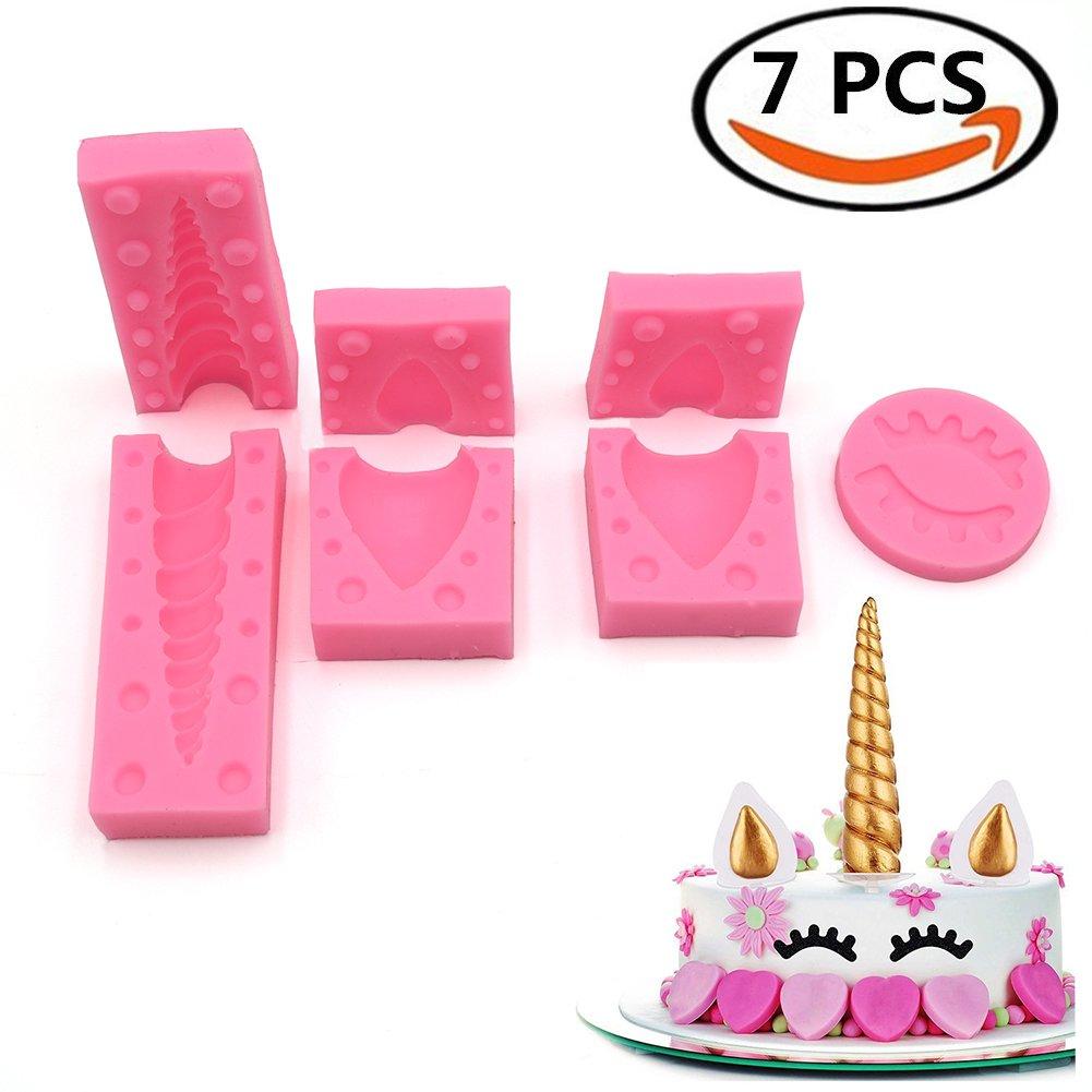 3.7'' Unicorns Cake Mold Silicone Cake Mold Unicorn Horn, Ears and Eyelash Cake Decoration Molds for Fondant Chocolates DIY Cake Cupcake Toppers (7 Sets)