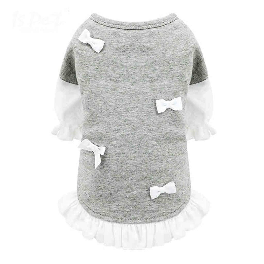 DOUDOUFUSHI Pet Dog Clothes Teddy Bear Xiong Bomei Yorkshire Puppy Puppies Single-Layer T-Shirt Autumn and Winter Thin Section (Color : Gray, Size : L)