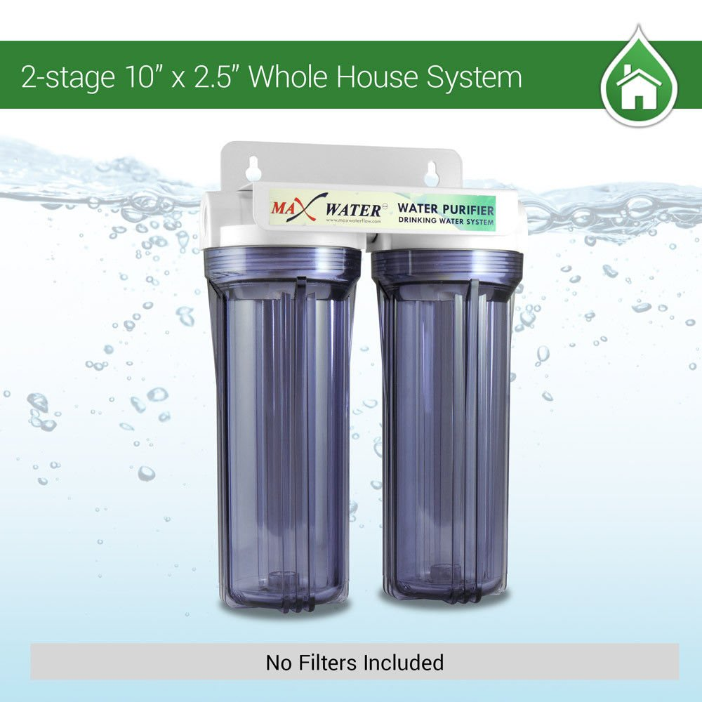 Two Stage Whole House Water Filter System 10''x 2.5'', 3/4'' Port, WITHOUT Filters
