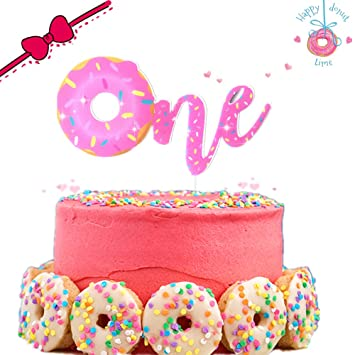 JeVenis Pink Donuts Cake Topper One First Birthday For Theme Kids