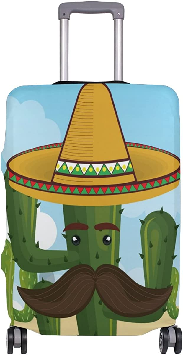 GIOVANIOR Cactus Character With Mexican Hat Luggage Cover Suitcase Protector Carry On Covers