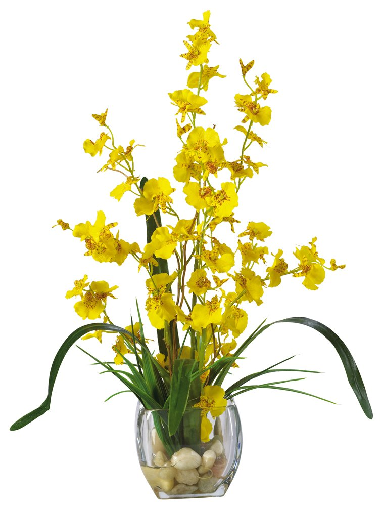 Nearly Natural 1119-YL Dancing Lady Orchid Liquid Illusion Silk Flower Arrangement, Yellow