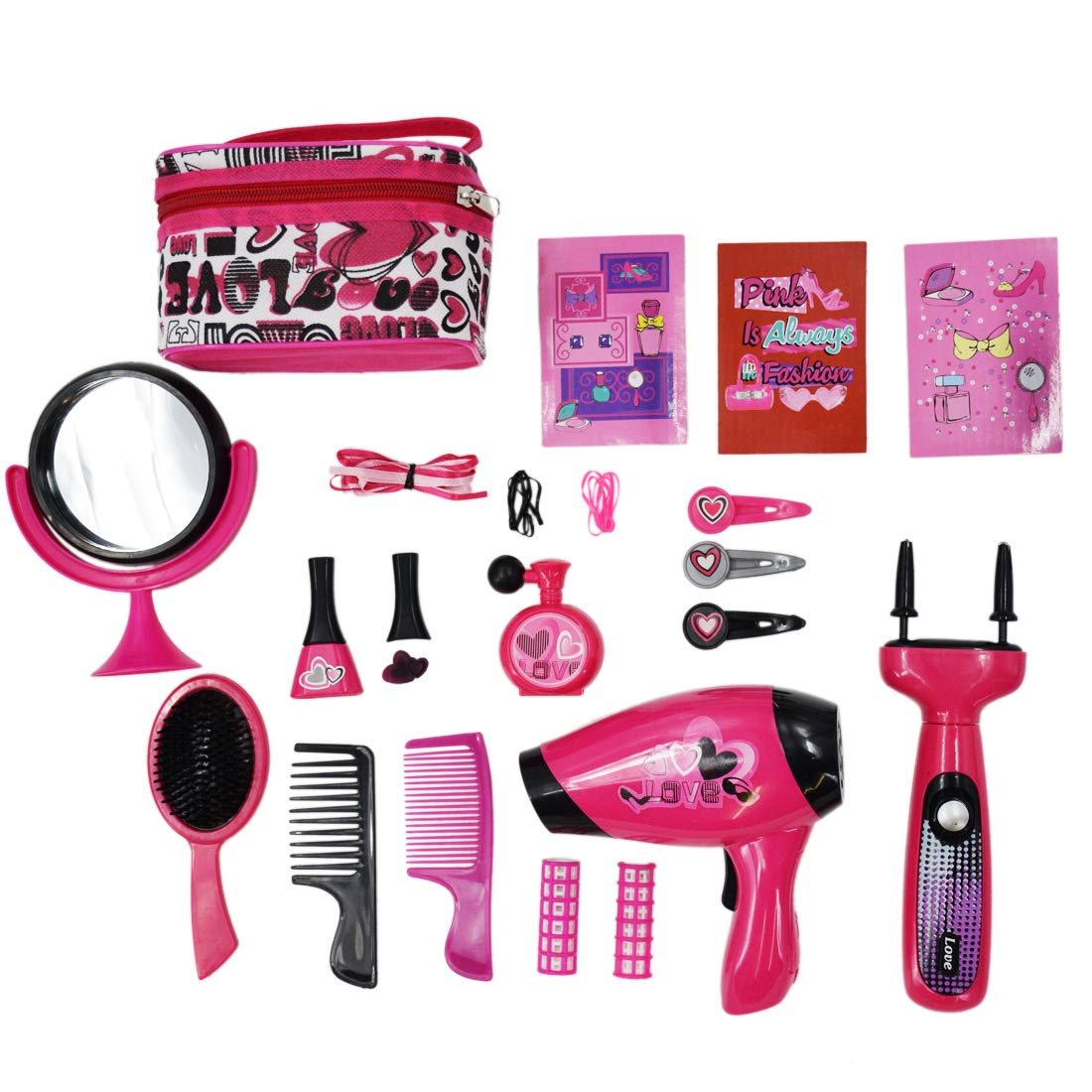 deAO Hairdressing and Vanity Bag Beauty Set Girls Styling Pretend Makeup Accessories Playset Including Braiding Machine and Hairdryer by deAO